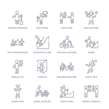 set of 16 thin linear icons such as people trading, man in hike, hotel supplier, angry man, happy man, business meeting, come in from humans collection on white background, outline sign icons or