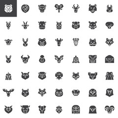 Animals head front view vector icons set, modern solid symbol collection filled style pictogram pack. Signs logo illustration. Set includes icons as hedgehog, fox, wolf, elk, lynx, badger, boar, bison