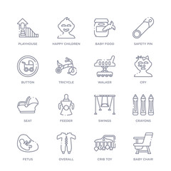 set of 16 thin linear icons such as baby chair, crib toy, overall, fetus, crayons, swings, feeder from kid and baby collection on white background, outline sign icons or symbols