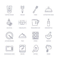 set of 16 thin linear icons such as mixer, mitten, recipe, microwave oven, mortar, stove, tray from kitchen collection on white background, outline sign icons or symbols