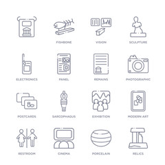 set of 16 thin linear icons such as relics, porcelain, cinema, restroom, modern art, exhibition, sarcophagus from museum collection on white background, outline sign icons or symbols