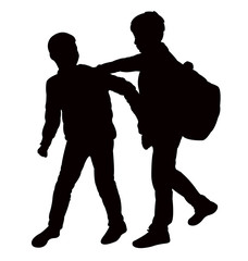 boysplaying together, silhouette vector