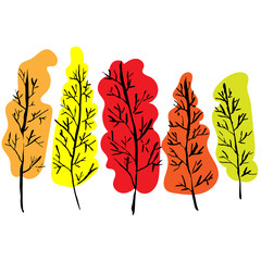 Naked trees silhouettes. Hand drawn autumn set. Vector illustration.