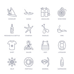set of 16 thin linear icons such as surfboard, snorkel, porthole, helm, lifesaver, vest, sailor from nautical collection on white background, outline sign icons or symbols