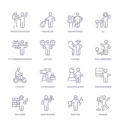 set of 16 thin linear icons such as singer, writer, bartender, builder, programmer, chessplayer, filmmaker from people skills collection on white background, outline sign icons or symbols