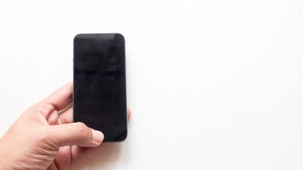 Wall Mural - hand hold smart phone on whitebackground