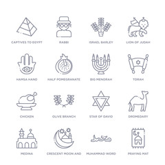 set of 16 thin linear icons such as praying mat, muhammad word, crescent moon and star, medina, dromedary, star of david, olive branch from religion collection on white background, outline sign
