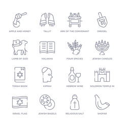 set of 16 thin linear icons such as shofar, religious salt, jewish bagels, israel flag, solomon temple in jerusalem, hebrew wine, kippah from religion collection on white background, outline sign