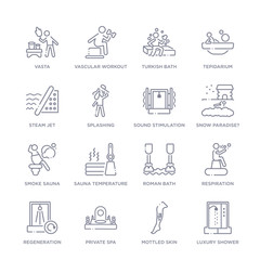 set of 16 thin linear icons such as luxury shower, mottled skin, private spa, regeneration, respiration, roman bath, sauna temperature from sauna collection on white background, outline sign icons