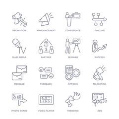 set of 16 thin linear icons such as ads, trending, video player, photo share, marketing, options, feedback from social media marketing collection on white background, outline sign icons or symbols