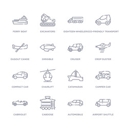 set of 16 thin linear icons such as airport shuttle, automobile, caboose, cabriolet, camper car, catamaran, chairlift from transportation collection on white background, outline sign icons or