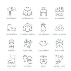set of 16 thin linear icons such as ski equiptment, ski lift, snow ball, snow boot, snow globe, goggle, snowshoes from winter collection on white background, outline sign icons or symbols