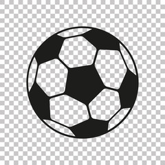 Football icon in flat style. Vector Soccer ball on transparent background . Sport object for you design projects