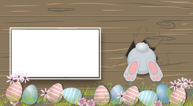 Happy Easter Cute bunny and eggs Cartoon