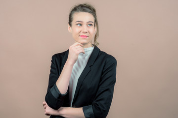 a successful business girl in a office