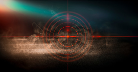 Fotomurales - Futuristic abstract background. Empty room background, concrete. Neon red light smoke. Laser lines, laser target in the center of the room.