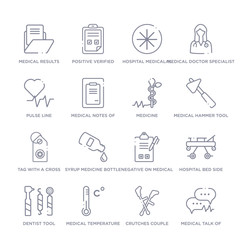 set of 16 thin linear icons such as medical talk of rectangular, crutches couple, medical temperature control tool, dentist tool, hospital bed side view, negative on medical clipboard, syrup