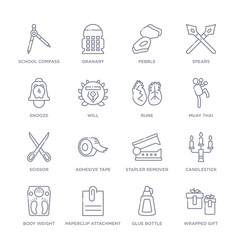 set of 16 thin linear icons such as wrapped gift, glue bottle, paperclip attachment, body weight, candlestick, stapler remover, adhesive tape from miscellaneous collection on white background,
