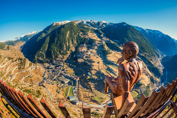 Fisheye view on the village of Canillo Andorra and its surroundings Wall mural