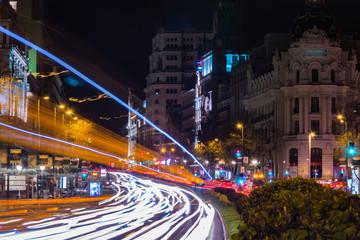 Cityscape of Alcala Street at night  Madrid, Spain