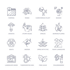 set of 16 thin linear icons such as philodendron, tree leave, thermometer high temperature, landscape inside frame, rainy landscape, sprig with five leaves, indoor from nature collection on white