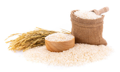Pile of white rice on white background