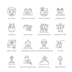 set of 16 thin linear icons such as baby's rattle, king of the hill, man with magnifying flass, star prize, oil can, frankesntein monster, tombstone zombie hand from other collection on white