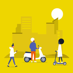 Urban transportation, motor bikes and electric scooters. Park. Outdoor. Young people walking and riding vehicles. Flat editable vector illustration, clip art