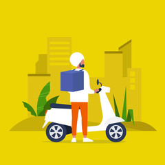 Food delivery service. Young indian  male courier with a large backpack riding a motor bike. Flat editable vector illustration, clip art