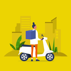 Food delivery service. Young female courier with a large backpack riding a motor bike. Flat editable vector illustration, clip art