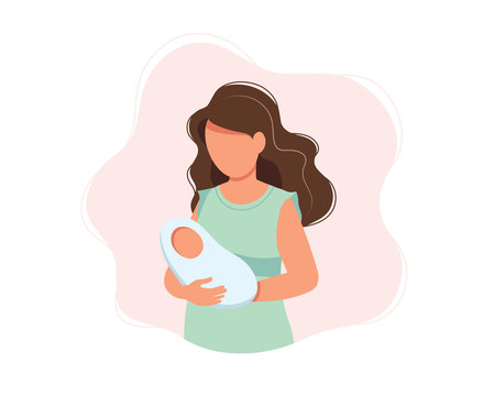Woman holding newborn baby, concept vector illustration in cute cartoon style, health, care, maternity