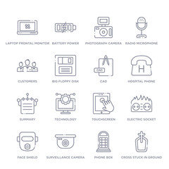 set of 16 thin linear icons such as cross stuck in ground, phone box, surveillance camera, face shield, electric socket on fire, touchscreen, technology from technology collection on white