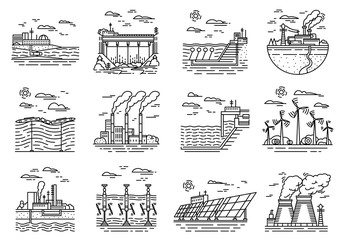 Power plants icons. Set of industrial buildings. Nuclear Factories, Chemical Geothermal, Solar Wind Tidal Wave Hydroelectric, Fossil fuel, Osmotic generating energy. Ecological sources of electricity.