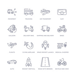 set of 16 thin linear icons such as bicycle side view, road with broken lines, rocket vertical position, auto, medical chopper transport, space rocket launch, flying airplane from transport