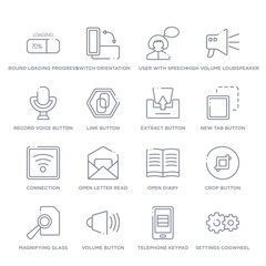 set of 16 thin linear icons such as settings cogwheel button, telephone keypad, volume button, magnifying glass search button, crop open diary, open letter read email from user interface collection
