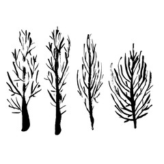 Naked trees silhouettes. Hand drawn set. Vector illustration.