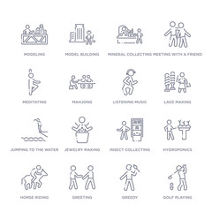 set of 16 thin linear icons such as golf playing, greedy, greeting, horse riding, hydroponics, insect collecting, jewelry making from activity and hobbies collection on white background, outline