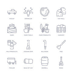 set of 16 thin linear icons such as roak, barrell, bale of hay, trailer, hoe, billhook, digging bar from agriculture farming collection on white background, outline sign icons or symbols