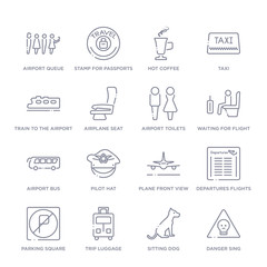 set of 16 thin linear icons such as danger sing, sitting dog, trip luggage, parking square, departures flights, plane front view, pilot hat from airport terminal collection on white background,