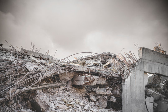 Ruin in a war zone with a damaged concrete building