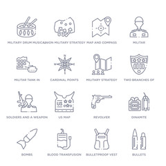 set of 16 thin linear icons such as bullets, bulletproof vest, blood transfusion, bombs, dinamite, revolver, us map from army collection on white background, outline sign icons or symbols