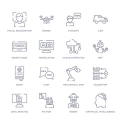 set of 16 thin linear icons such as artificial intelligence, robot, piction, data analysis, algorithm, mechanical arm, chat from artifical intelligence collection on white background, outline sign