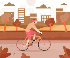 Men with bicycles in the city park. Young man cycling in public park with cityscape background. Active men riding bicycle in colors mixed style. Vector illustration