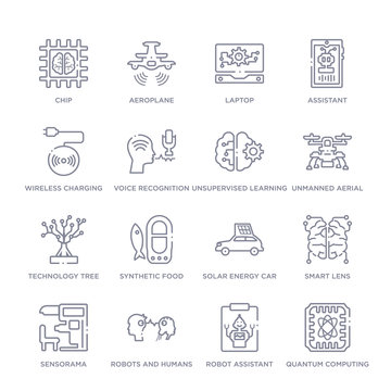 set of 16 thin linear icons such as quantum computing, robot assistant, robots and humans, sensorama, smart lens, solar energy car, synthetic food from artificial intellegence collection on white