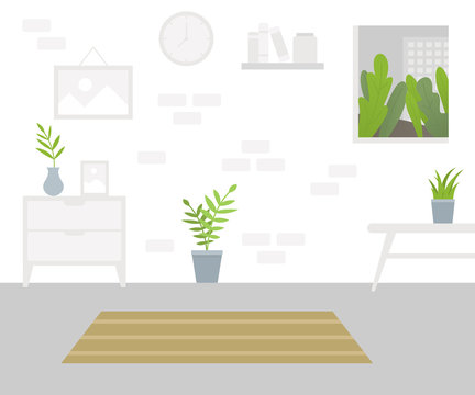 Interior of the living room. Design of cozy room with table, window, carpet, house plants. Vector Flat illustration
