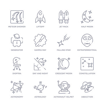 set of 16 thin linear icons such as abduction, astranaut helmet, astrology, astronomy, constellation, crescent moon, day and night from astronomy collection on white background, outline sign icons