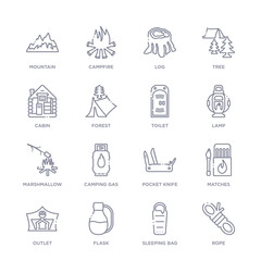 set of 16 thin linear icons such as rope, sleeping bag, flask, outlet, matches, pocket knife, camping gas from camping collection on white background, outline sign icons or symbols