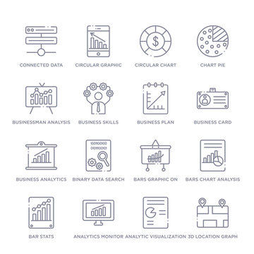 set of 16 thin linear icons such as 3d location graph, analytic visualization, analytics monitor, bar stats, bars chart analysis, bars graphic on screen, binary data search from business and