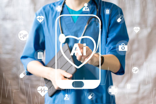 Doctor pressing button heart pulse artificial intelligence healthcare on smartphone