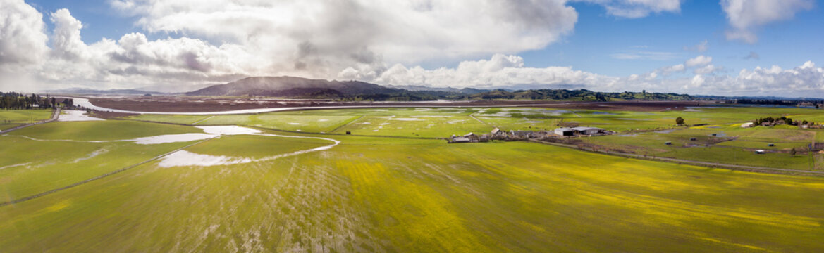 Aerial panorama of farms and mountains in Sonoma County, California.